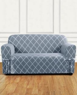 Sure Fit Lattice One-Piece Straight Skirt with Cord Loveseat