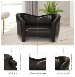 Leather Pet Chair sofa Bed Lounge Couch Puppy Dog Dark Brown