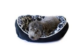Danazoo Leopard Cuddler Pet Bed, Large, Black