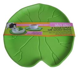 Cats Rule Lilypad Splash and Crumb Catcher Mat, Green