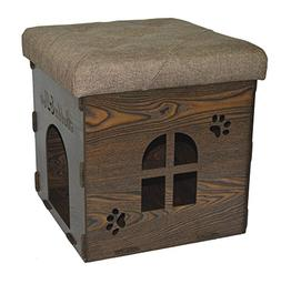 Fsobellaleo Linen KD Storage Ottoman Dog House Footrest Chai