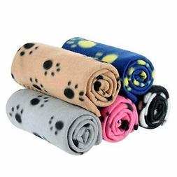 MarJunSep Lovely Pet Paw Prints Fleece Blankets for Dogs Cat