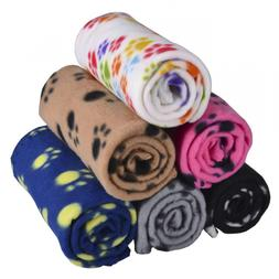 Lovely Pet Paw Prints Fleece Blankets for Dogs Cats Animals