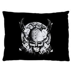 Outdoor Luxury Plush Dog Bed Helmet Sword and Skull