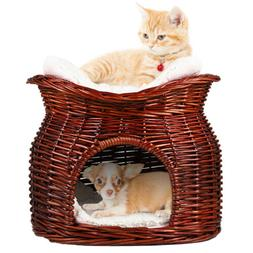 M Size Wicker Basket Cat Bed Cave Small Dog Puppy Rattan Hou