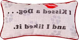 Manual Woodworkers & Weavers Word Throw Pillow,  I Kissed a