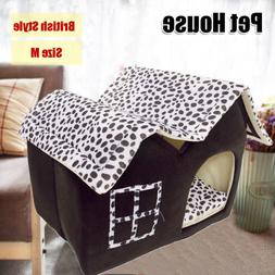 Dog Soft Bed Cushion Pet Kennel Tent House Warm Foldable Cat