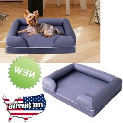 Memory Foam Dog Bed with Removable Washable Zippered Cover L