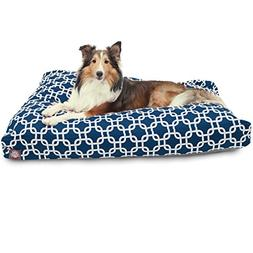 Navy Blue Links Large Rectangle Indoor Outdoor Pet Dog Bed W