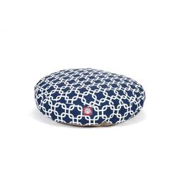 Navy Blue Links Small Round Indoor Outdoor Pet Dog Bed With