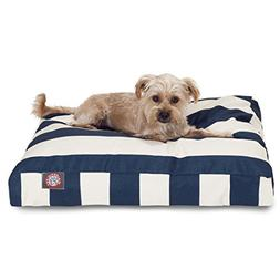 Navy Blue Vertical Stripe Small Rectangle Indoor Outdoor Pet