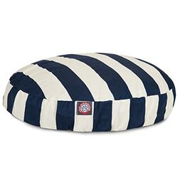 navy blue vertical stripe round