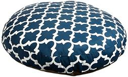Navy Trellis Large Round Indoor Outdoor Pet Dog Bed With Rem