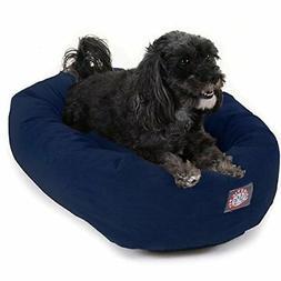 "Majestic Pet 24"" Navy Velvet Bagel Dog Bed Beds Supplies"