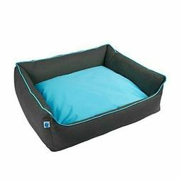 New Totally Pooched Explore Bolster Dog Bed, Large, Gray/Blu