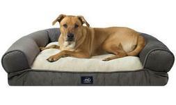 NEW Serta Extra Plush Bolster Dog Bed - Gray - Size: Small