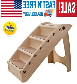 NEW-Folding Plastic Dog Steps for High Bed 4 Step Design Wit