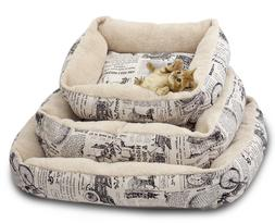 Newspaper Vintage Pet Bed Cushion Dog Cat Warm Mat Soft Pad
