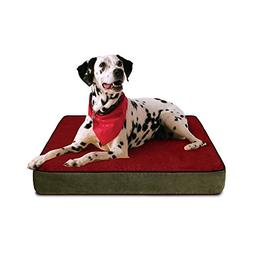 FREE SHIPPING Buddy Beds Non-Toxic Memory Foam Dog Bed-Red/B