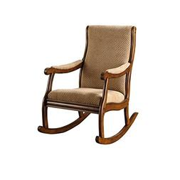 Nursery Rocking Chair Upholstered Cushion Tan Brown Wood Roc