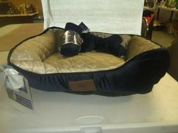 NWT AKC Rectangular Pet Dog Cat Bed Blue w/ blanket and pill
