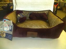 nwt rectangular pet dog cat bed red