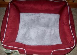 NWT AKC Rectangular Pet Dog Cat Bed Rust Grey Trim 22 x 18 x