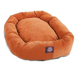 24 inch Orange Villa Collection Micro Velvet Bagel Dog Bed B
