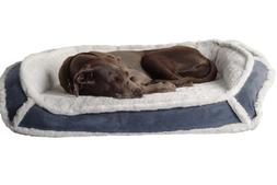 K9 Ballistics Orthopedic LUX Bolster Bed Cream Fur/Blue Gray