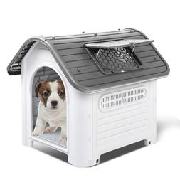Outdoor Plastic Dog House Dog Cat Kennel Puppy Bed Waterproo