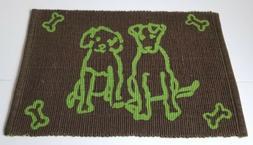 "Park B. Smith Pet Dog Food Bowl Mat Rug ""Dog's Friend"" green"