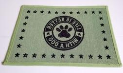 """Park B. Smith Pet Dog Food Bowl Mat Rug"""" Life is better with"""