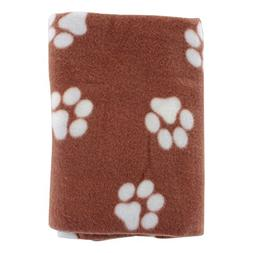 Paw Print Pet Ultra-Soft Fleece Blanket, 39 in x 27 in, Brow