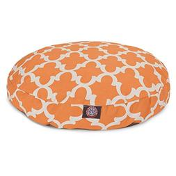 Peach Trellis Large Round Indoor Outdoor Pet Dog Bed With Re