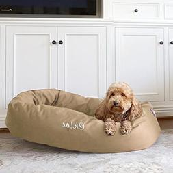 Majestic Pet Personalized Bagel Dog Bed - Machine Washable -