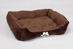 Reversible Rectangle Pet Bed with Dog Paw Printing, Coffee