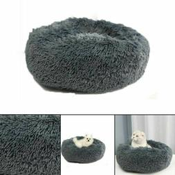 Pet Calming Bed Round Nest Faux Fur Donut Cat Dog Beds Self