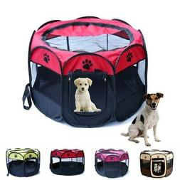 Pet Cat Dog Playpen Tent Portable Exercise Fence Kennel Cage