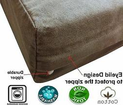PET DOG BED Replacement COVER Brown Durable Denim Jean Duvet