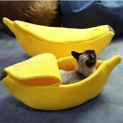 Pet Dog Cat Bed Banana Shape House Fluffy Warm Soft Sleep Pl