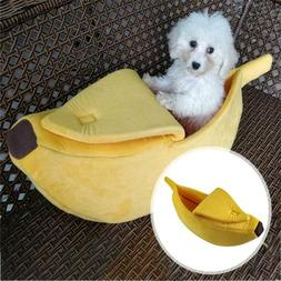 Pet Dog Cat Bed House  Litter Kennel Doggy Puppy Warm Banana