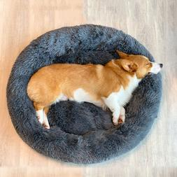 Pet Dog Cat Calming Bed Long Plush Round Cute Nest Winter Co