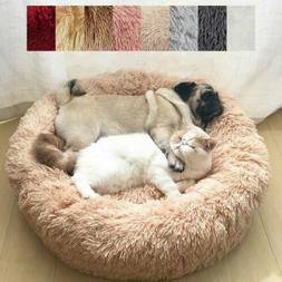 Pet Dog Cat Calming Bed Round Nest Warm Soft Plush Sleeping
