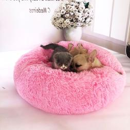 Pet Dog Cat donut Bed Round Soft Mat Puppy Plush Sofa Washab