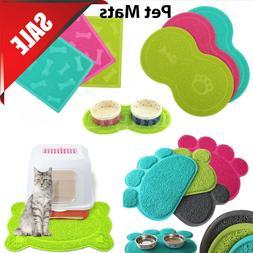 Pet Dog Puppy Cat Feeding Mat Pad Cute PVC Bed Dish Bowl Foo