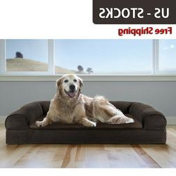 FurHaven Pet Faux Fleece & Chenille Sofa Dog Bed - NewFreeSH