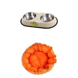 Pet Feeder Dog Stainless Steel Bowl and Pet Cushion Dog Cat