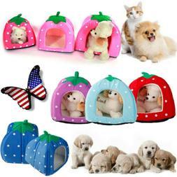 Pet Foldable House Strawberry Cave Sleep Bed Cat Dog Tent Ke