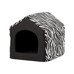 Pet Furniture 2-in-1 Dog House Sofa, Medium , Black Zebra Pr