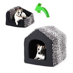 Pet Furniture 2-in-1 Dog House Sofa, Large , Black Leopard P
